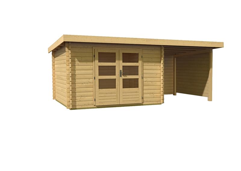woodfeeling gartenhaus pultdach bastrup 5 28 mm mit 2 m schleppdach inkl seiten und r ckwand. Black Bedroom Furniture Sets. Home Design Ideas