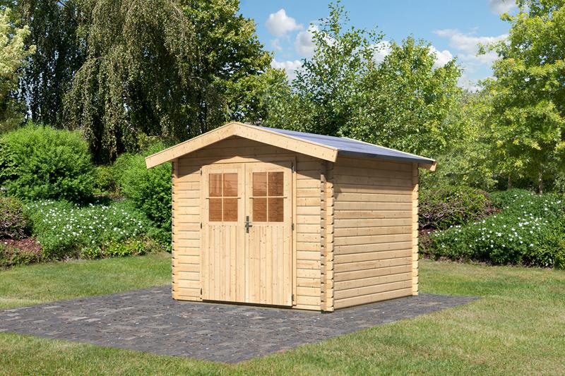 woodfeeling gartenhaus felsenau 2 satteldach 38 mm blockbohlenhaus natur. Black Bedroom Furniture Sets. Home Design Ideas