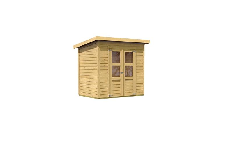 karibu gartenhaus merseburg 3 flachdach 14 mm system natur. Black Bedroom Furniture Sets. Home Design Ideas