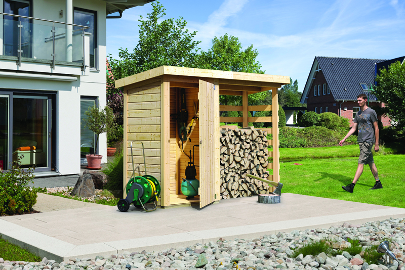 woodfeeling ger teschrank mit feuerholzoption pultdach 14 mm system natur. Black Bedroom Furniture Sets. Home Design Ideas