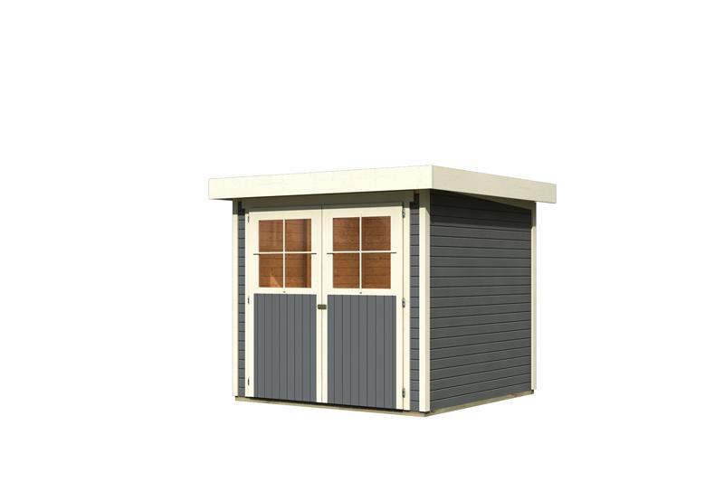 karibu gartenhaus limburg 3 flachdach 19 mm system terragrau. Black Bedroom Furniture Sets. Home Design Ideas