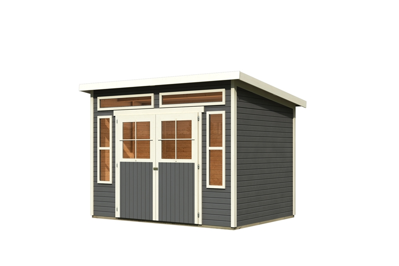 karibu gartenhaus tinkenau 6 pultdach 19 mm system terragrau. Black Bedroom Furniture Sets. Home Design Ideas