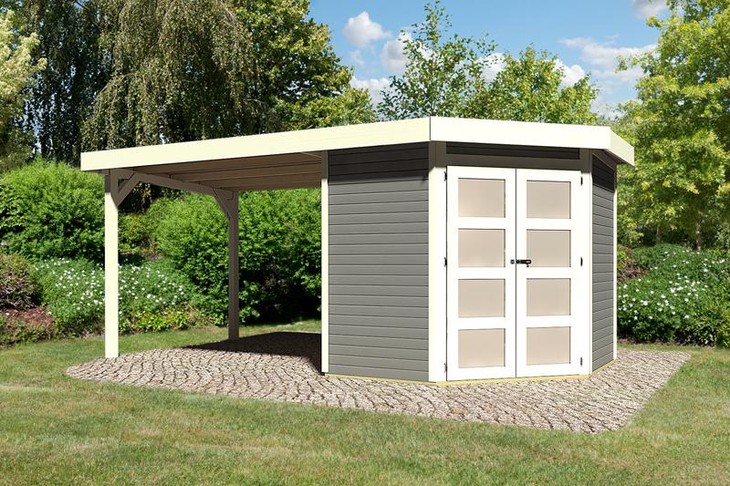 sonderangebot karibu gartenhaus goldendorf 3 im set mit anbaudach 2 60 m breit 19 mm. Black Bedroom Furniture Sets. Home Design Ideas