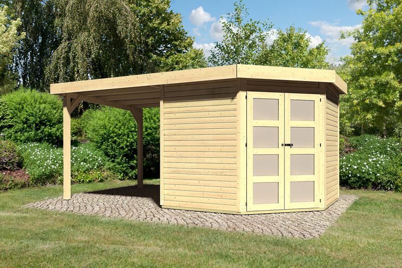sonderangebot karibu gartenhaus goldendorf 5 im set mit anbaudach 2 20 m breit 19 mm. Black Bedroom Furniture Sets. Home Design Ideas