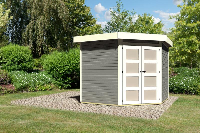 karibu gartenhaus goldendorf 5 flachdach 19 mm system terragrau. Black Bedroom Furniture Sets. Home Design Ideas
