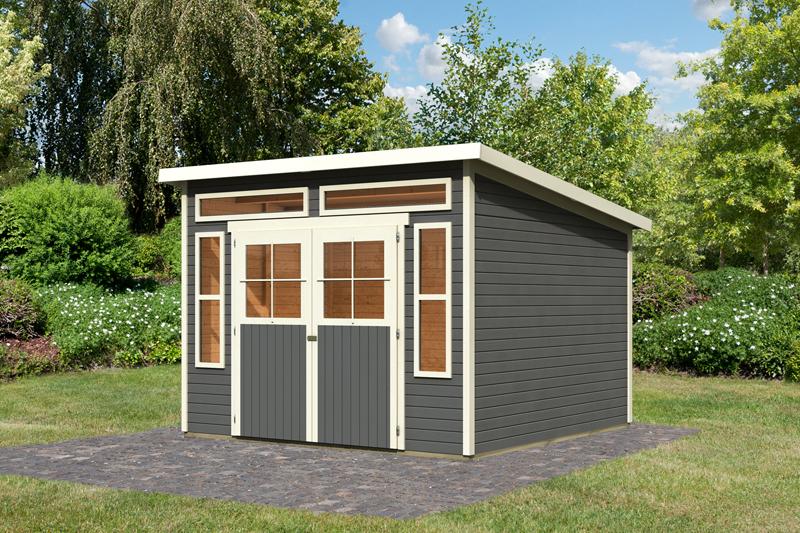 karibu gartenhaus tinkenau 8 pultdach 19 mm system terragrau. Black Bedroom Furniture Sets. Home Design Ideas