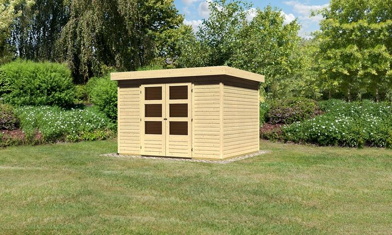 woodfeeling gartenhaus askola 6 pultdach 19 mm system natur. Black Bedroom Furniture Sets. Home Design Ideas