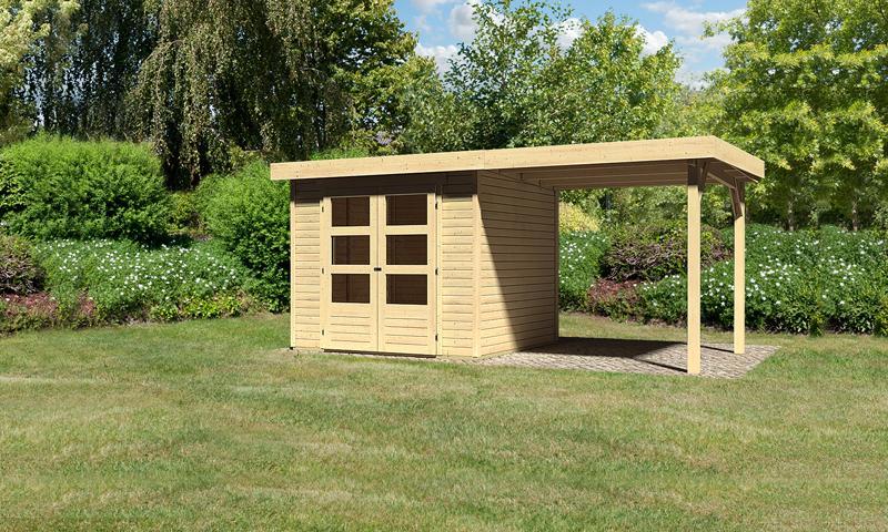woodfeeling gartenhaus askola 3 pultdach 19 mm system inkl schleppdach natur. Black Bedroom Furniture Sets. Home Design Ideas