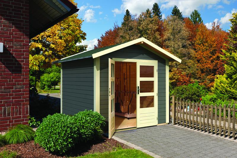 woodfeeling karibu holz gartenhaus talkau 3 in terragrau. Black Bedroom Furniture Sets. Home Design Ideas