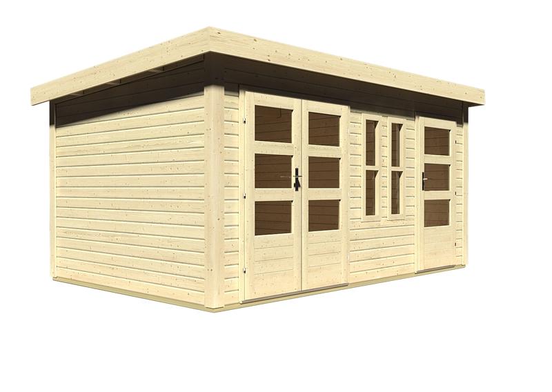 woodfeeling gartenhaus sch nbuch 2 flachdach 40 mm mittelwandhaus natur. Black Bedroom Furniture Sets. Home Design Ideas