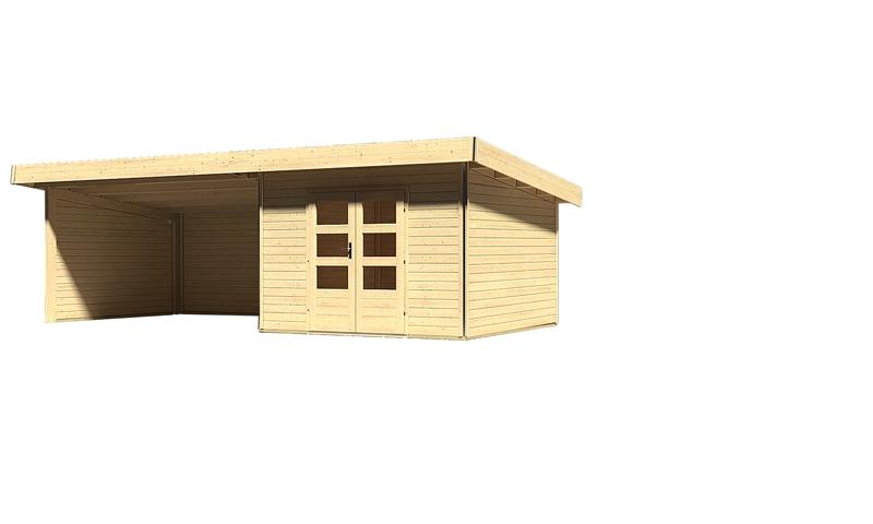 karibu gartenhaus moosburg 3 im set 4 m anbaudach seiten und r ckwand 40 mm wandst rke. Black Bedroom Furniture Sets. Home Design Ideas