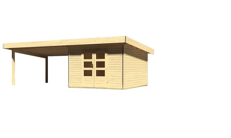 karibu gartenhaus moosburg 3 im set 4 m anbaudach 40 mm wandst rke pultdachhaus naturbelassen. Black Bedroom Furniture Sets. Home Design Ideas