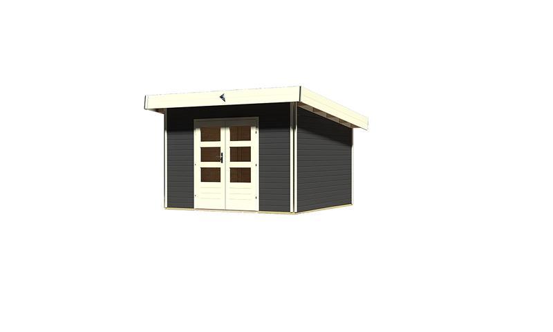 karibu gartenhaus moosburg 3 pultdach 40 mm system opalgrau. Black Bedroom Furniture Sets. Home Design Ideas