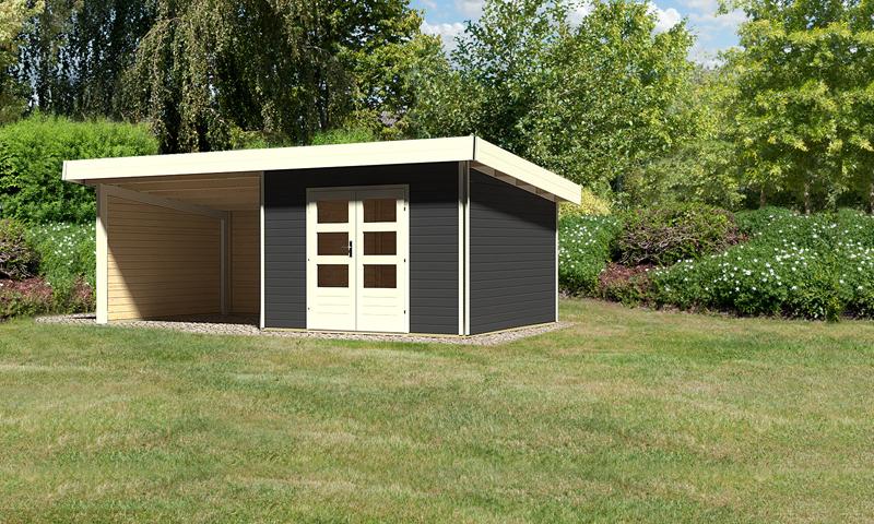 karibu gartenhaus moosburg 3 im set 3 m anbaudach seiten und r ckwand 40 mm wandst rke. Black Bedroom Furniture Sets. Home Design Ideas