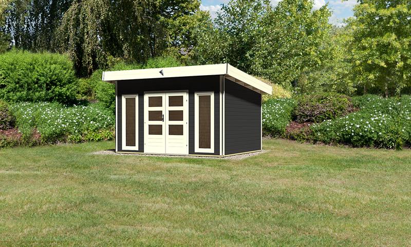 karibu gartenhaus tecklenburg 1 pultdach 40 mm system opalgrau. Black Bedroom Furniture Sets. Home Design Ideas