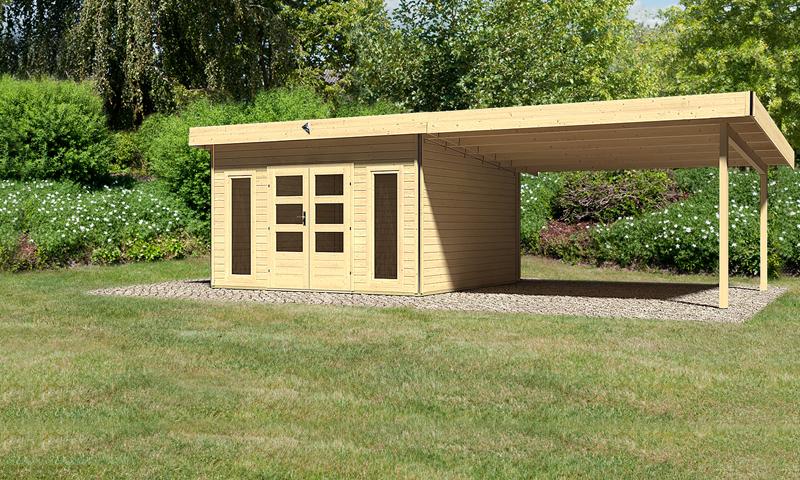 karibu gartenhaus tecklenburg 2 im set 4 m anbaudach 40 mm wandst rke pultdachhaus naturbelassen. Black Bedroom Furniture Sets. Home Design Ideas