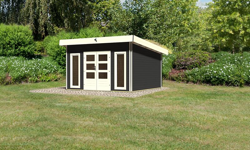 karibu gartenhaus tecklenburg 2 pultdach 40 mm system opalgrau. Black Bedroom Furniture Sets. Home Design Ideas