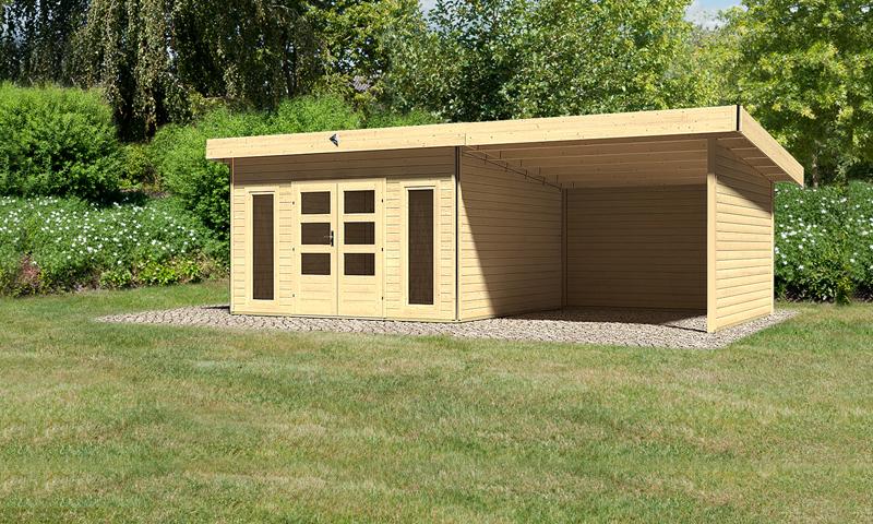 karibu gartenhaus tecklenburg 2 im set 3 m anbaudach seiten und r ckwand 40 mm wandst rke. Black Bedroom Furniture Sets. Home Design Ideas