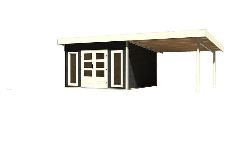 sonderangebot woodfeeling gartenhaus northeim 5 im set mit einem anbaudach breite 3 m 40 mm. Black Bedroom Furniture Sets. Home Design Ideas