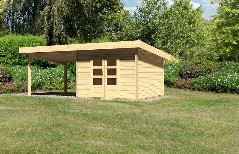 sonderangebot woodfeeling gartenhaus northeim 3 im set mit einem anbaudach breite 3 m 40 mm. Black Bedroom Furniture Sets. Home Design Ideas
