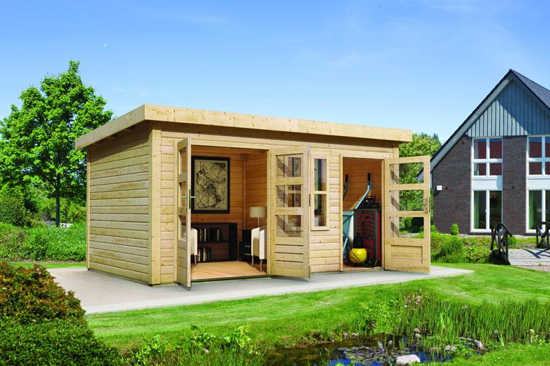 angebot woodfeeling zweiraum gartenhaus set sch nbuch 2. Black Bedroom Furniture Sets. Home Design Ideas