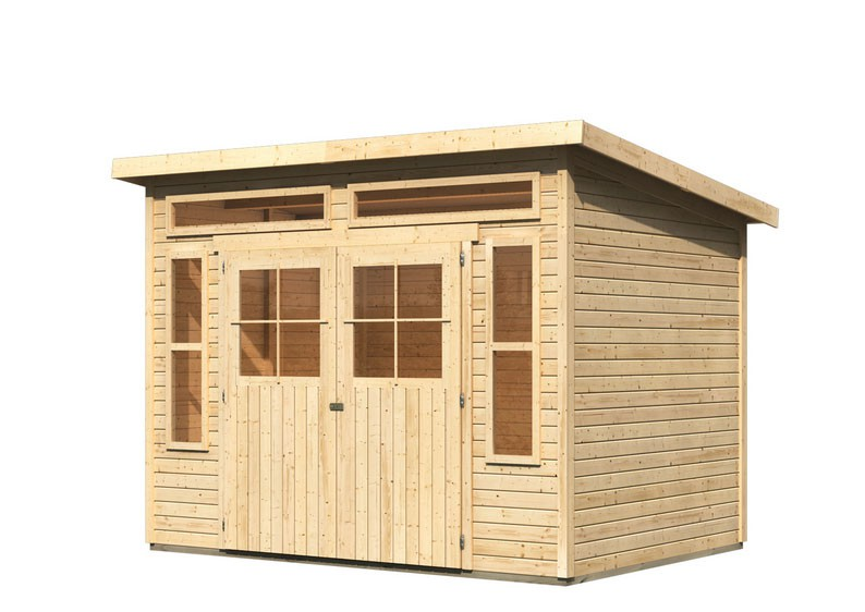 karibu gartenhaus tinkenau 6 pultdach 19 mm system natur. Black Bedroom Furniture Sets. Home Design Ideas