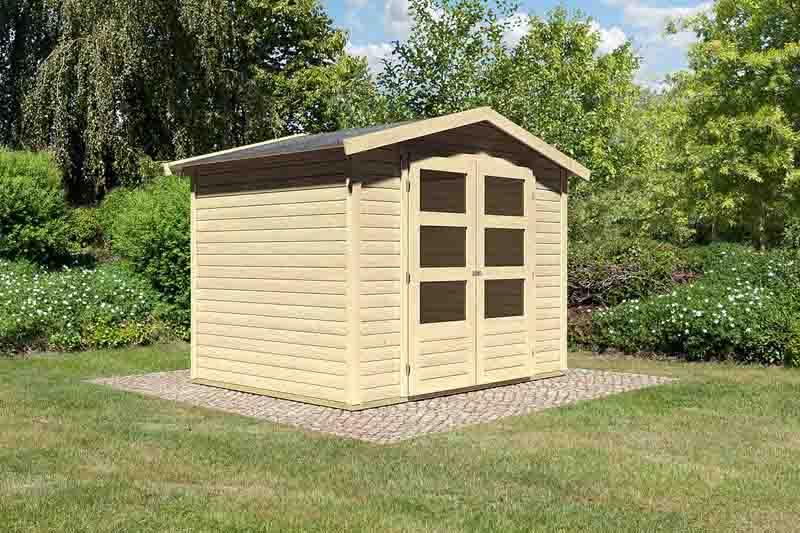 woodfeeling karibu holz gartenhaus amberg 3 in naturbelassen unbehandelt. Black Bedroom Furniture Sets. Home Design Ideas