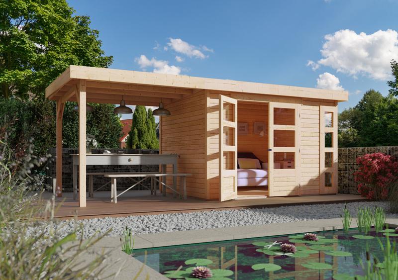 woodfeeling karibu holz gartenhaus kerko 3 im set mit anbaudach 2 40 m breite in naturbelassen. Black Bedroom Furniture Sets. Home Design Ideas