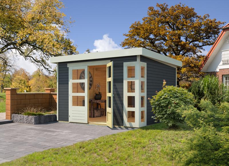 woodfeeling karibu holz gartenhaus kerko 6 in terragrau. Black Bedroom Furniture Sets. Home Design Ideas