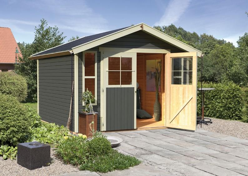 karibu gartenhaus auburg 7 satteldach 19 mm system terragrau. Black Bedroom Furniture Sets. Home Design Ideas