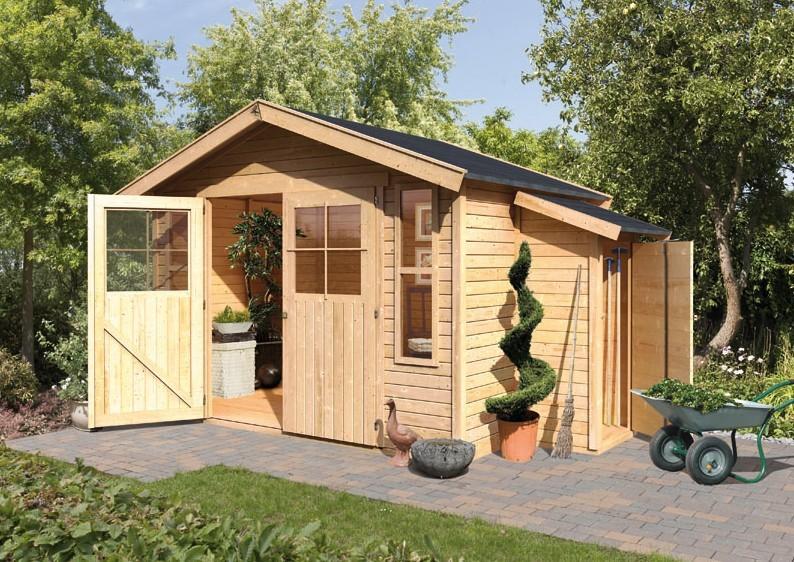 karibu gartenhaus auburg 7 satteldach 19 mm system natur. Black Bedroom Furniture Sets. Home Design Ideas