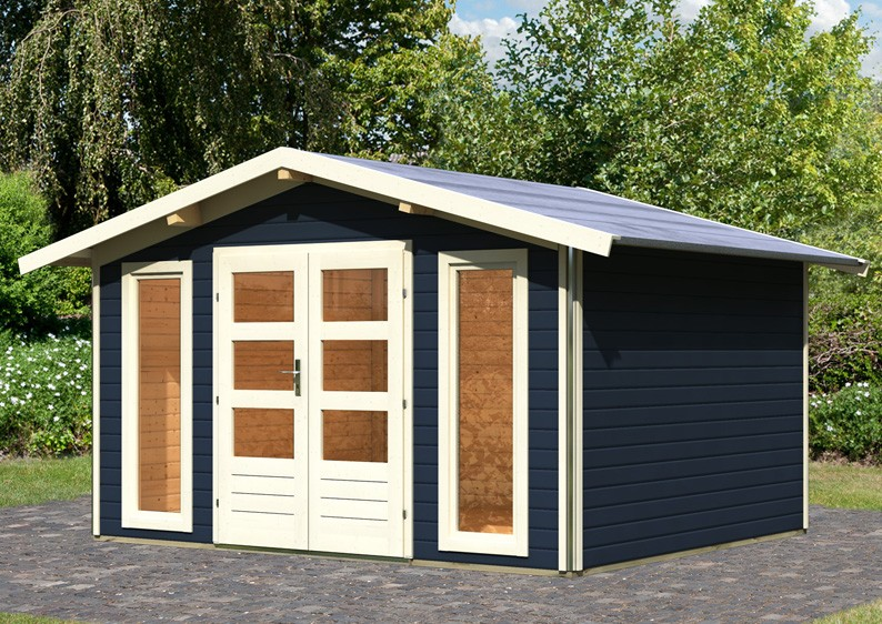 karibu gartenhaus bensburg 1 satteldach 40 mm system opalgrau. Black Bedroom Furniture Sets. Home Design Ideas
