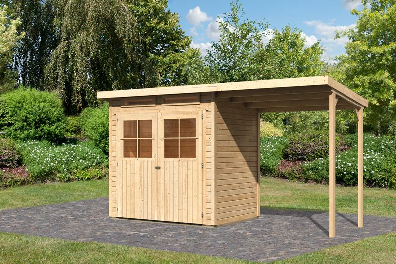 Karibu Holz-Gartenhaus 19mm Glücksburg 2 im Set mit Anbaudach ...