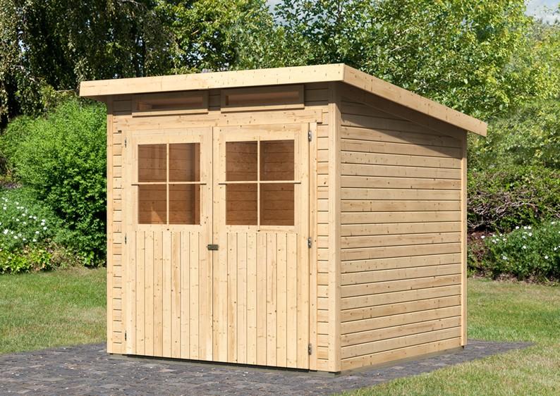 karibu gartenhaus gl cksburg 3 pultdach 19 mm system natur. Black Bedroom Furniture Sets. Home Design Ideas