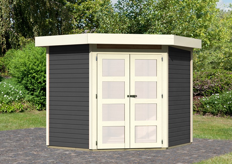 karibu gartenhaus goldendorf 3 flachdach 19 mm system. Black Bedroom Furniture Sets. Home Design Ideas
