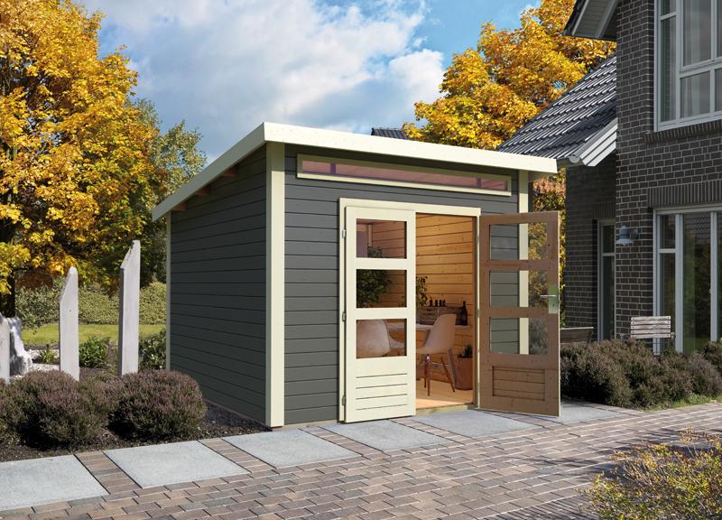 woodfeeling karibu holz gartenhaus kandern 6 in terragrau. Black Bedroom Furniture Sets. Home Design Ideas