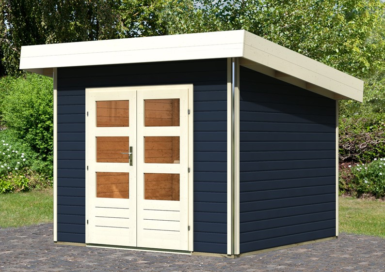 karibu gartenhaus moosburg 1 pultdach 40 mm system opalgrau. Black Bedroom Furniture Sets. Home Design Ideas