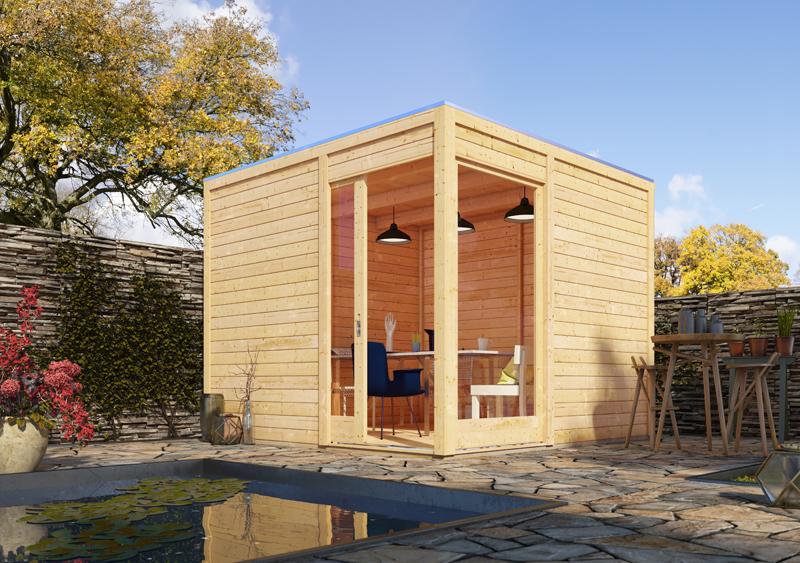 karibu holz gartenhaus 28mm qubu eck terragrau inkl alu dachbahnrolle. Black Bedroom Furniture Sets. Home Design Ideas