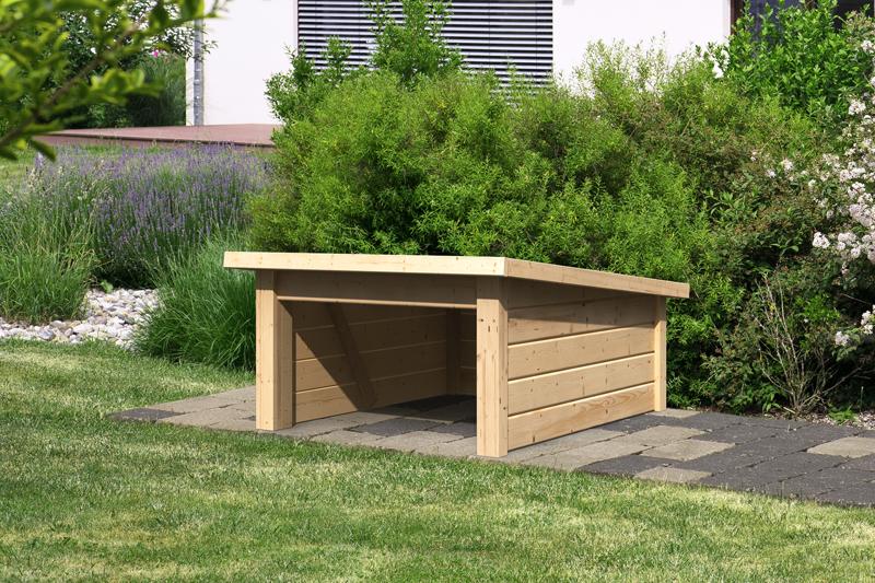 woodfeeling karibu holz garage 19 mm haus f r m hroboter 2 in naturbelassen unbehandelt. Black Bedroom Furniture Sets. Home Design Ideas