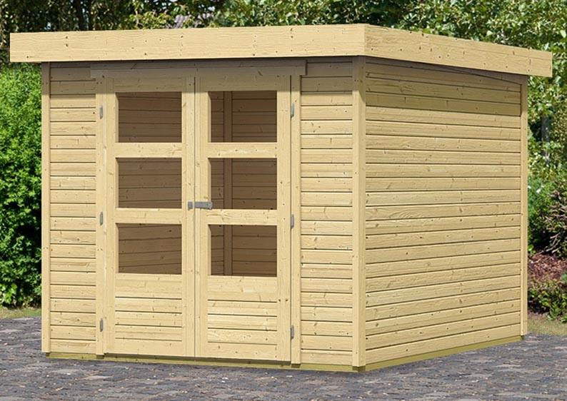 woodfeeling gartenhaus askola 3 pultdach 19 mm system natur. Black Bedroom Furniture Sets. Home Design Ideas