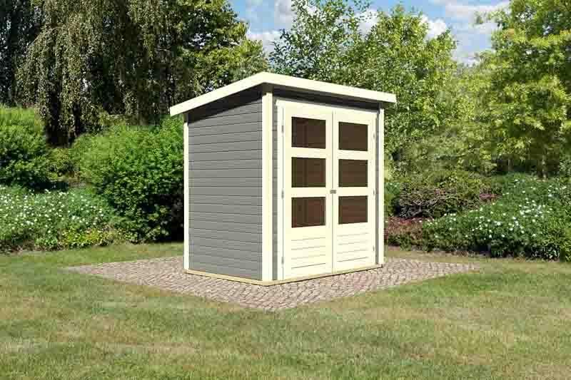 woodfeeling karibu holz gartenhaus stockach 1 in terragrau. Black Bedroom Furniture Sets. Home Design Ideas