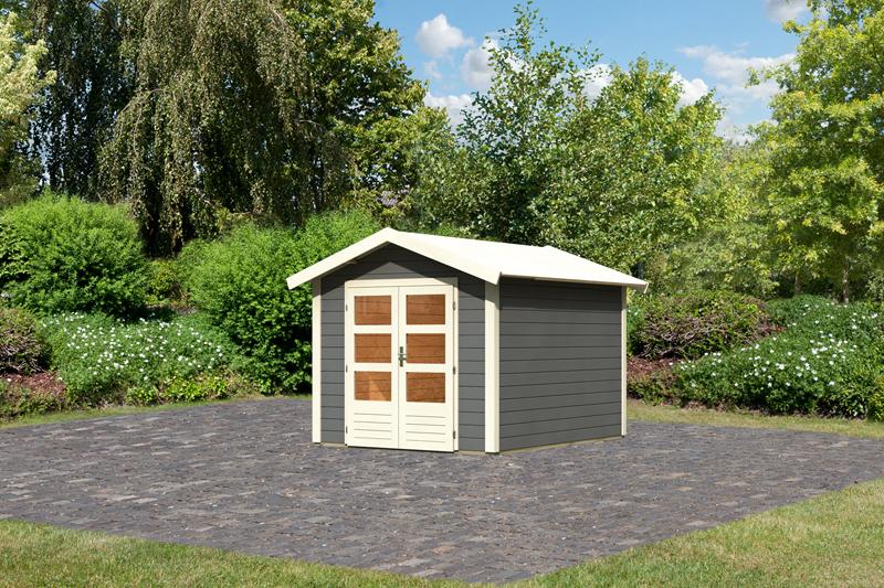 woodfeeling karibu holz gartenhaus tastrup 4 in terragrau. Black Bedroom Furniture Sets. Home Design Ideas