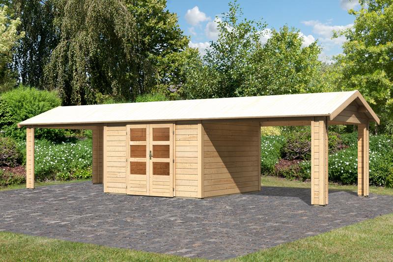 Woodfeeling Gartenhaus Tastrup 7 Satteldach 28 mm System mit 2x