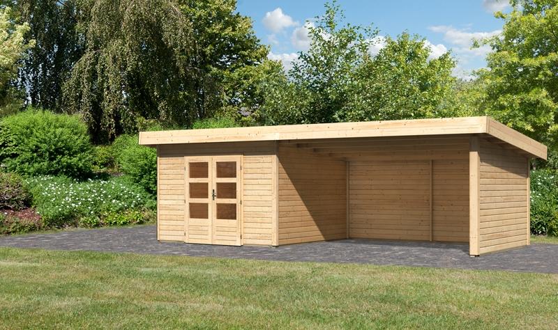 sonderangebot woodfeeling gartenhaus northeim 3 im set mit einem anbaudach breite 4 m und 28mm. Black Bedroom Furniture Sets. Home Design Ideas
