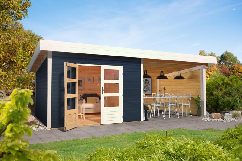sonderangebot woodfeeling gartenhaus northeim 4 im set mit einem anbaudach breite 4 m und 28mm. Black Bedroom Furniture Sets. Home Design Ideas