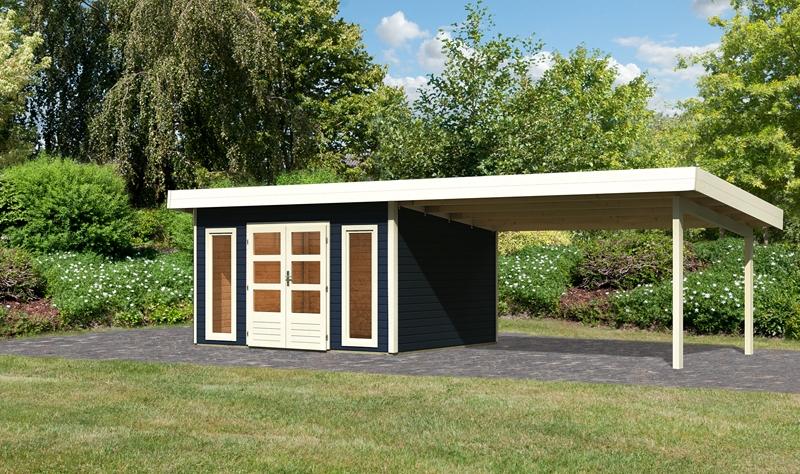 sonderangebot woodfeeling gartenhaus northeim 4 im set mit einem anbaudach breite 4 m 40 mm. Black Bedroom Furniture Sets. Home Design Ideas