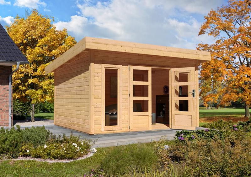 sonderangebot woodfeeling gartenhaus northeim 4 im set mit einem anbaudach breite 3 m und 28mm. Black Bedroom Furniture Sets. Home Design Ideas