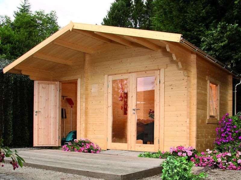 wolff finnhaus gartenhaus caro 34 modern satteldach bohlenma e 470 x 320 cm. Black Bedroom Furniture Sets. Home Design Ideas