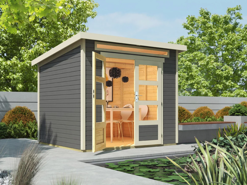 wolff finnhaus 19mm gartenhaus venlo mit flachdach titangrau. Black Bedroom Furniture Sets. Home Design Ideas
