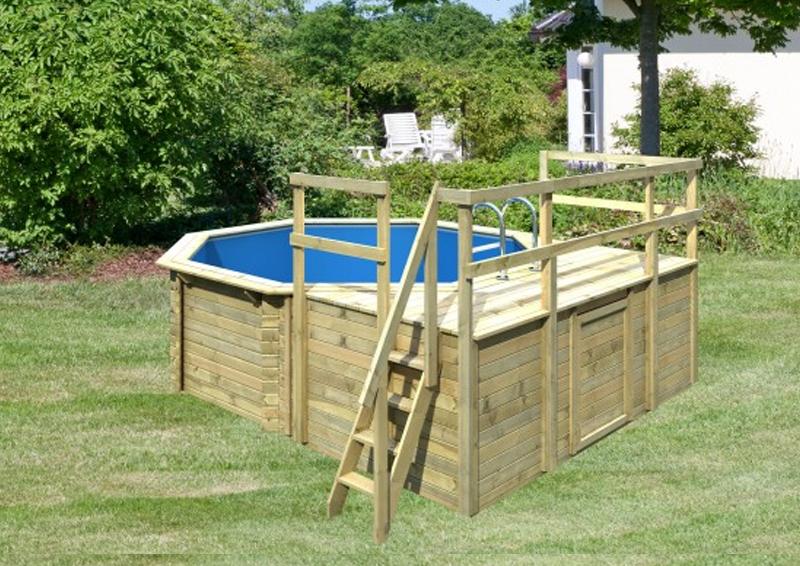 Swimmingpool holz  Pool Holz Swimmingpool Achteck Modell D1 400 x 400 cm - kdi - inkl ...
